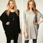 Womens Batwing Sleeve Blouse OverSize T Shirt Casual Loose Long Tops Fashion