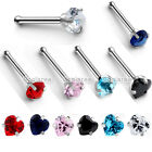 "1x 20g Stainless Steel 3mm Heart CZ Gems Nose Bone Ring Stud 1/4"" Body Piercing"