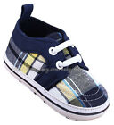 Infant Toddler Baby Boy Plaid Boat Crib Shoes Size Newborn to 18 Months
