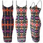 LADIES STRAPPY TOP BRIGHT AZTEC PRINT DRESS KNEE LENGTH WOMENS BODYCON MIDI MESH