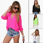 Women Sexy V Neck Summer Loose Casual Chiffon Sleeve Shirt Tops Blouse L XL 2XL