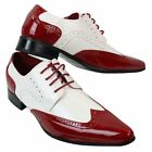 Mens Patent Leather Brogue Shoes Red White Smart Casual Laced Vintage Shiny