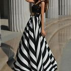 New Women's Summer Dress Sexy Lace Striped Beach Maxi Dress Floor-length Dress