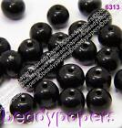 100 - 200  Round Glass Beads Deep Jet Black 6mm 6313