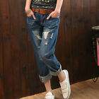 Hot Sale Korean Casual large size And ankle-length With hole jeans XK0016