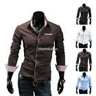 New Men's Luxury Long Sleeve Casual Slim Fit Stand Collar T-shirt Tee Tops Shirt