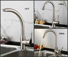 Kitchen Single Lever Basin Sink Mixer Tap New Swivel Spout Brushed Steel Faucet