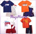 PUMA OUTFIT SET WHITE SHIRT RED SHORTS PANTS BOYS 0 3 6 M NEW $40
