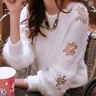 Vogue Floral Embroidery Pullover Women Sweater Jumper Knitwear Outwear Knit Top