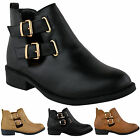 NEW LADIES WOMENS CUT OUT CHELSEA LOW BLOCK HEEL GOLD BUCKLE ANKLE BOOTS SHOES