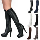 NEW LADIES PLATFORM WOMENS CASUAL ZIP UP STILETTO HEEL KNEE HIGH BOOTS SIZE 3-8