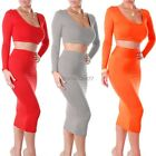 Womens Party High Waist Cropped Outfit Bodycon Top Dress Two-Piece Bandage Dress