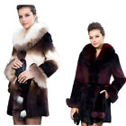 QD5882 New Genuine Rex Rabbit Fur Coat with Fox Fur Collar Gradient Overcoat