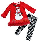 Toddler Girls 2T 3T Christmas Snowman Holiday 2 Piece Outfit Top + Pant Leggings
