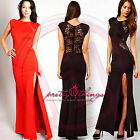 UK Women Formal Long Lace Prom Evening Party Cut Out SideSlit Bodycon Maxi Dress