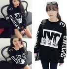 NYC Print Black Sweatshirts Long Sleeve Thicken Loose Blouses Warm Womens Tops