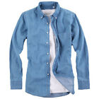 Men Blue Jean Top Long Sleeve button down Washed Denim Casual Shirt cotton shirt