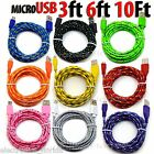 Внешний вид - LOT Braided Micro usb data sync cable cord 3,5,10 FT for Android Cell Phones