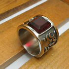 Vintage Retro Punk Ruby Stone Titanium Stainless Steel Ring Mens Jewelry Gift