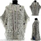 CharlesElie94 ALPHONSINE Women's Winter Wool Knitted Jumper Poncho Cape US 6-18