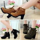 Girl Women High Top Heeled Lace Up Buckle Ankle Boots Winter Cold Weather Shoes