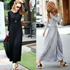 Elegant Crew Neck Long Sleeve Tunic Pleated Womens Full Length Maxi Dress Solid