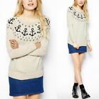 Trends Womens Long Sleeve Knit Pullover Navy Wind Sweater Jumper Knit Shirt Tops