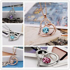New Women Silver,Gold Chain heart Crystal Birthstone Pendant Necklace jewelry