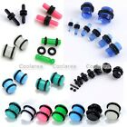 2x Punk Acrylic Plugs 14G-00G Double Flare O-Rings Ear Stud Stretching Kit Gauge