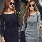 Korean Women Long Sleeve Slim Off Shoulder Sweater Knitwear Bodycon Mini Dress
