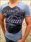Dangerous Line of Co Caine Young&Rich EKSI V-Neck Nieten T-Shirt VintageLook