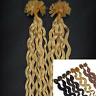 Curly Remy Human Hair Extension Pre Bonded Nail Kertain Tip Hair 20''100S 0.5g/s