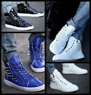 New Mens Fashion Spike Punk Studded Rivet Shoes Zipped Sneakers Ankle Boots T193