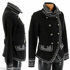 New Women Baroque Black Wool & Silver Embroideries Jacket Coat 6 8 10 12 14 16