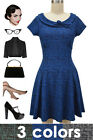 TWEED Print TICKLING THE IVORIES Dress w/Collar & BOW Detailing - 3 Color Combos