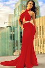 Sexy Floor Length With Trail Bombshell Red Dress Metallic Belt Open Back S/M