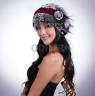 2014 Fashion Rex Rabbit Fur Knit Cute Cap Lady Flower Decoration Hat QD29530