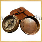 "2.3"" Antique Vintage Style Brass Pocket Compass W Leather Case Campaninig Hiking"