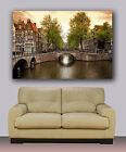 "Amsterdam bridge over channel, Huge giclee canvas print. Photo art 30""x40"""