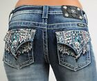 Miss Me Jeans Turquoise Tribal Sunset Embroidered Boot Cut 25 26 27 28 29 30 31