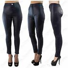 LADIES HIGH WAISTED BLUE PU TUBE JEANS LEATHER LOOK SKINNY FIT DISCO PANTS