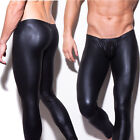 Sexy Men Fashion Black Faux Leather Fitted Trousers Long Johns Pant Skin Tight
