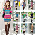 Young Ladies' Xmas Christmas Jumper Women Tunic Fairisle Sweater Tops Mini Dress