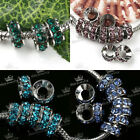 5x Rondelle Crystal Silver Plated European Spacer Beads Fit Charms Bracelet 9mm