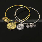 1X Expandable Wire Bangle Charms Bracelet Adjustable Bangle Silver Gold Tone New