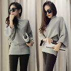 Womens Stand Collar Wool Blend Sweater V neck Pullover Knitwear Jumpers Knitted