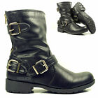 WOMENS LADIES BLACK ANKLE GOLD BUCKLE ZIP MILITARY GRIP SOLE BOOTS SIZE