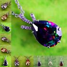 Amethyst Morganite Garnet Tourmaline Gemstone Silver Free Chain Necklace Pendant
