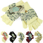 BNWT Ladies Fingerless Chunky 2 in 1 Gloves Mittens Combi Set Autumn Winter Cold