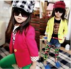 Candy Color Slim Fit Small Suit Jacket Korean Style Girls Toddler Kids Baby Coat
